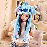 Girls Animals Ear Moving Jumping Hats, Warm Plush Rabbit Winter Caps, Cute Bunny Fuzzy (Koala Blue)