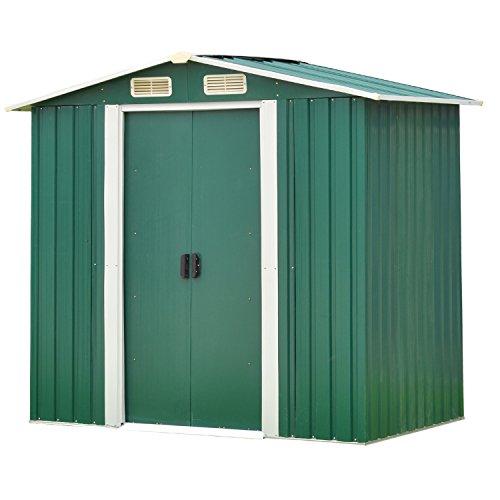 Kinsuite Outdoor Backyard Storage Shed Metal Garden Heavy Duty Tool House W/Sliding Door(6'X4') Green