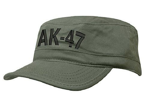 morefaz AK 47 MILITÄRMÜTZE Vintage Military Mütze Cap Fancy Dress Kappe Biker Cadet Hat Flat (AK 47 Green Black)