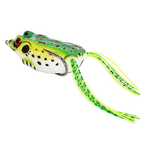 ACHICOO ルアー カエル クランクベイト タックル クランクベイト フィッシングルアー 淡水 塩水 軟らかい バイオニックベイト 1個 緑の背中と黄色の体