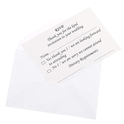 DIVISTAR Antwortkarten für Hochzeit, mit Umschlägen, 50 Stück