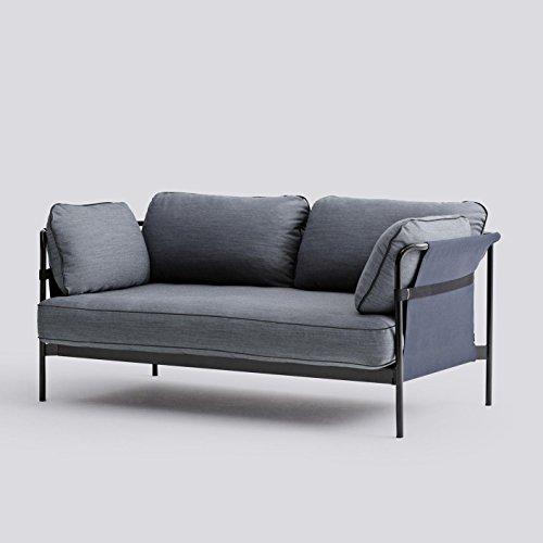 HAY Can 2-Sitzer Sofa, dunkelblau Stoff Surface 990 172.4x82x89.5cm Gestell schwarz Rück- Seitenteil Canvas blau