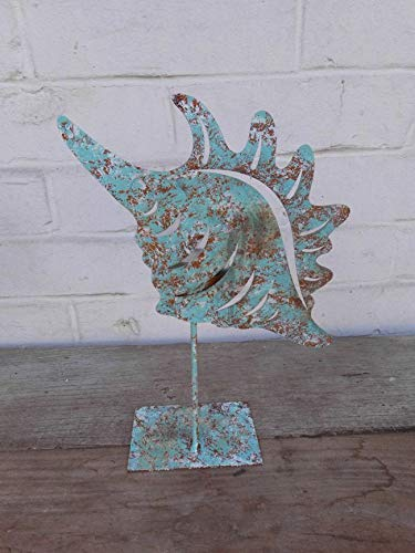 Deko-Impression Bezaubernder Teelichthalter Windlicht Eisen Rost türkis Muschel breit