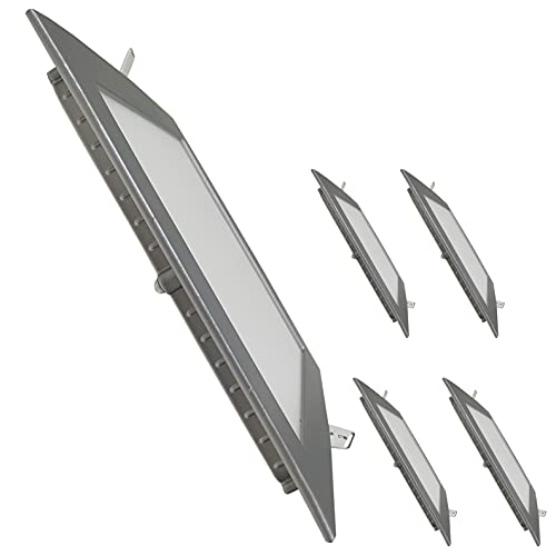 Pack 5x Panel LED Cuadrado Marco Plata 20W. Color Blanco Frio (6500K). 1800 Lumenes. Downlight Empotrar. Driver incluido.