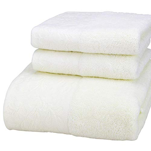 Charm4you Lujo 100% algodón Toalla de baño,Toalla de baño Jacquard de algodón Satinado Peinado ecológico Juego de 3 Piezas 1 Toalla de baño 2 Toalla-Beige