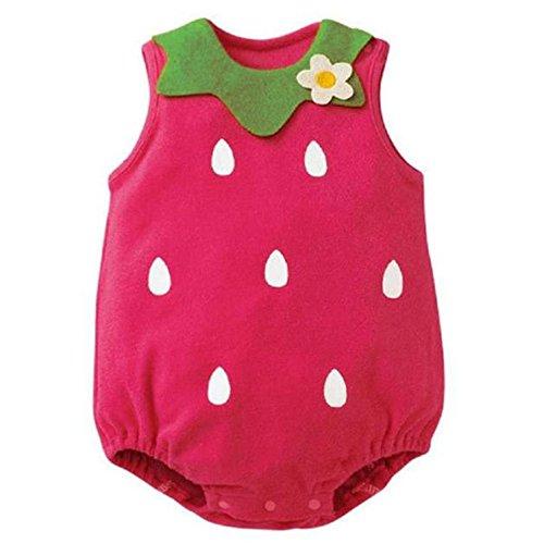 Vovotrade® Lovely Belle Nouveau-Né Enfants Bébé Kids Baby Boy Girl Garçon Fille Infantile Printed Imprimé Barboteuse Romper Jumpsuit Vêtements Bodysuit Clothes (Hot Pink-Strawberry, 6M)
