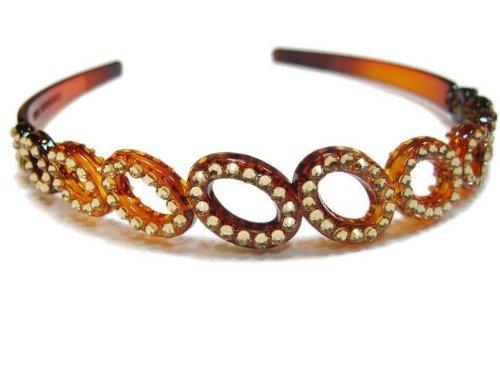 rougecaramel–Accesorios Cabello–Invernadero de cabeza/Headband CÉRÉMONIES o bodas de cristal de Swarovski–marrón