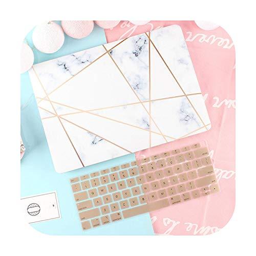 Peach-Girl Marble Shell Case for Macbook Air Pro Retina 11 12 13.3 New Book Mac 13 15 Bar Touch Screen 2020 A2289 A2251 A1932 A2179 + Keyboard-White-12 Inches A1534