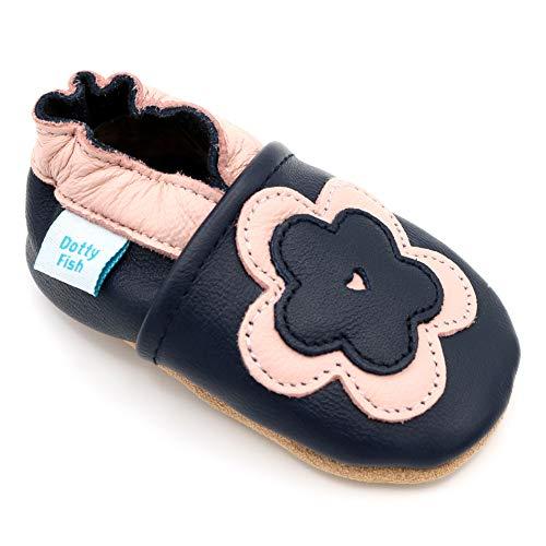 Dotty Fish weiche Leder Babyschuhe. Rutschfesten Wildledersohlen. 6-12 Monate (19 EU). Marineblau mit rosa Blume.