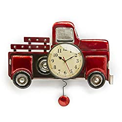 The Lakeside Collection Pendulum Wall Clock with Vintage-Style Red Truck, Battery-Powered Analog Dial