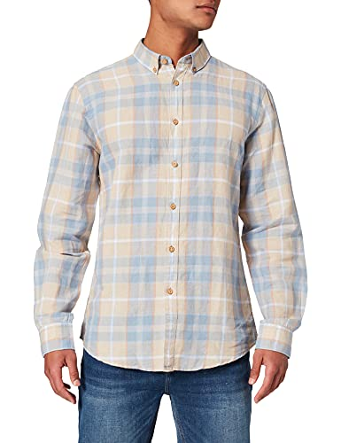 Springfield Camisa Cuadros, Azul Medio, XL para Hombre