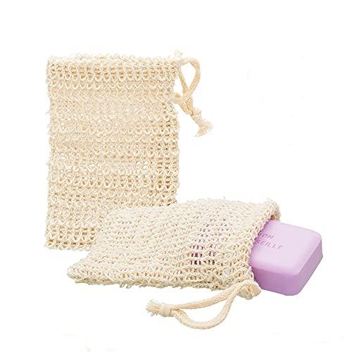 ECENCE 2x fundas para jabón de sisal natural red para jabón saco para jabón bolsa para jabón 14cm x 9cm