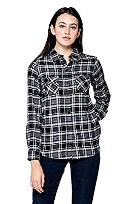 ICONICC Women's Long Sleeve Casual Plaid Flannel Shirts