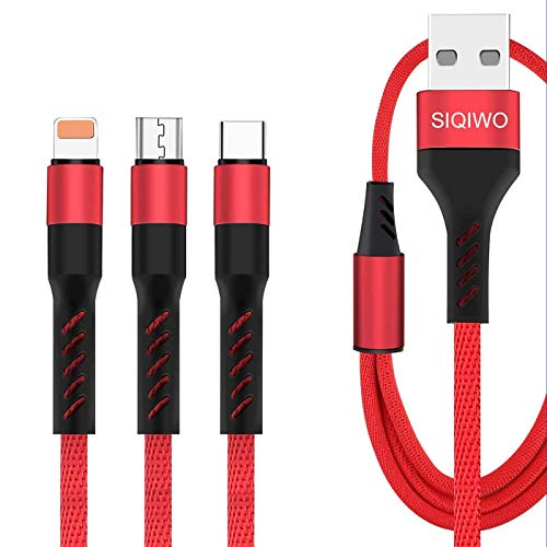 SIQIWO 3 in 1 USB Charging Cable 2.4A, [2-Pack 4FT] Multi Fast Charger Cord Connector with Phone/Type C/Micro USB Charge Port, Compatible with Tablets Samsung Galaxy S20 S10 Google Pixel LG V20 G6