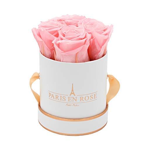 PARIS EN ROSE Rosenbox Petit Palais Bijou | 3 Jahre haltbar | Weiß-Roségold mit rosa Infinity Rosen | Flowerbox mit 4 konservierten Blumen