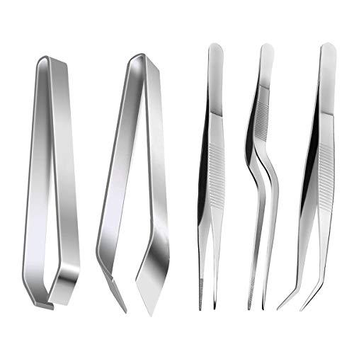 ZITFRI 5 Pinze Cucina Set in Acciaio Inox Pinzette per Pesce Pinza Professionale Cucina per Alimentari Utensili Cucina per Cuochi 5 Dimensioni