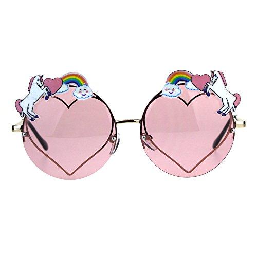 Rainbow Unicorn Heart Metal Pin Rimless Round Hippie Sunglasses Pink