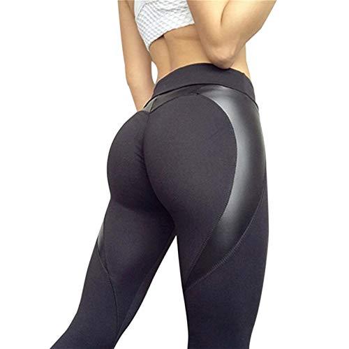 Hoch-Taille Gamaschen, Frauen-Heart-Shaped Gesäss hohe Elastizität Lederhose, Fitness Radfahren Gamaschen Fitness-Leggings (Color : Black, Size : S)