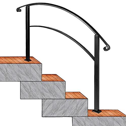YUEWO 玄関用手すり 、頑丈な階段の手すり、1〜4ステップ、コンクリートまたは木材用のマット錬鉄製の手すり、屋外または屋内、通路、ポーチ、デッキ