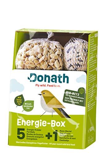 Donath Energie-Box 5+1 - 5 Meisenknödel a 100g und 1 Nussbeutel mit 120g, jeweils im BIO-Netz - Knabbervielfalt- wertvolles Ganzjahres Wildvogelfutter - aus unserer Manufaktur in Süddeutschland