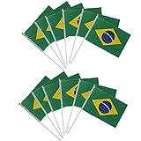 Frmarche 20 Stück Flagge Brasilien, kleine Flagge FIFA, Weltmeisterschaft, Fahne, 14 x 21 cm, Mini-Banner brasilianisch
