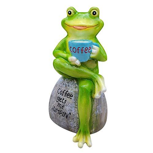 Yongqin Estatua de gnomo de jardín en miniatura, estatua de rana verde creativa en 3D, estatua de rana sentada en piedra, adorno de resina para jardín de hadas (C)