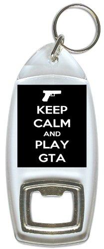 Blijf kalm en speel GTA - Fles Opener Sleutelhanger