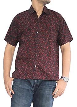 LA LEELA Men s Pool Paisley Button Down Short Sleeve Hawaiian Shirt S Maroon_W641