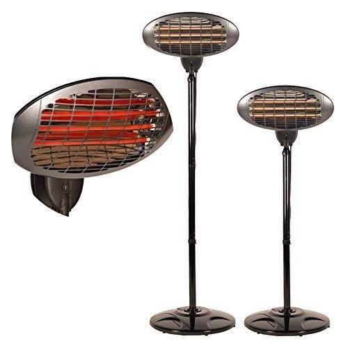 DRULINE Terrassenheizstrahler Heizstrahler Infrarotwellnesswärme, höhenverstellbar, Wickeltisch-Wärmestrahler mit Splitterschutz und Kipp- Abschaltung, Standfuß - 2 in1 Infrarotstrahler Terrassenheizung Quarzstrahler Für Balkon, Terrasse, Garten Terrassenstrahler Standheizstrahler für Innen und Aussen geeignet , 3 Heizstufen: 650, 1300 oder 2000 W, bis 15 m², 45° neigbar, schwarz