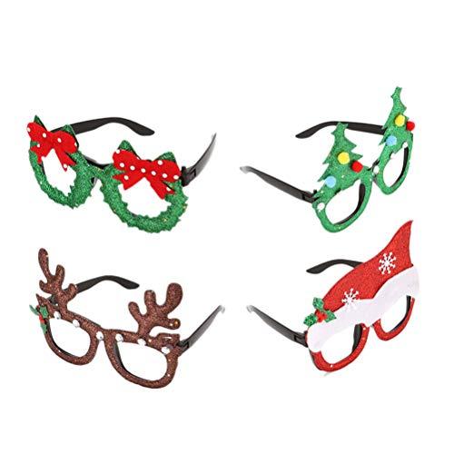 Healifty Weihnachtsdekorationen 4 stücke Kreative Weihnachten Brillen Rahmen Neujahr Dekor Party Favors Karneval Dekoration (Verschiedene Muster)