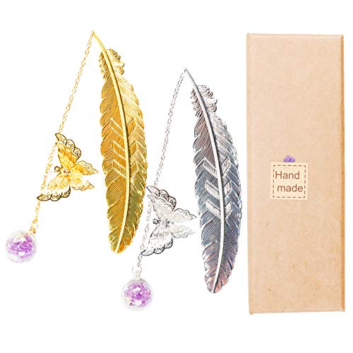 ONEST 2 Pack Vintage-Style Gold Silver Metal Feather Bookmark, Handmade with Care. with 3D Butterfly and Dried Flower Bead Charms Gift Box, A Suitable Gift for Women, Girls, Book Lovers