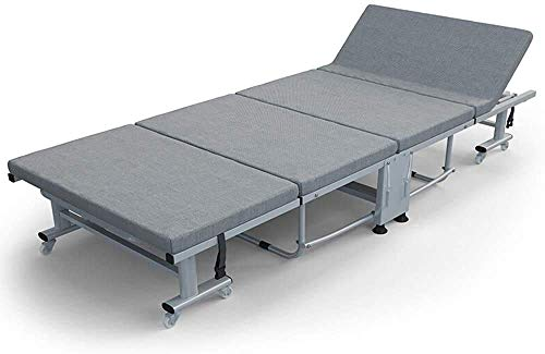 N&O Lit Pliable Portable Lit pliant de Camping Lit pliant Lit chaises Longues portables pour Bureau Balcon Jardin Plage meubles de Bureau agrave Domicile (Couleur Gris Taille 195X90X34CM)
