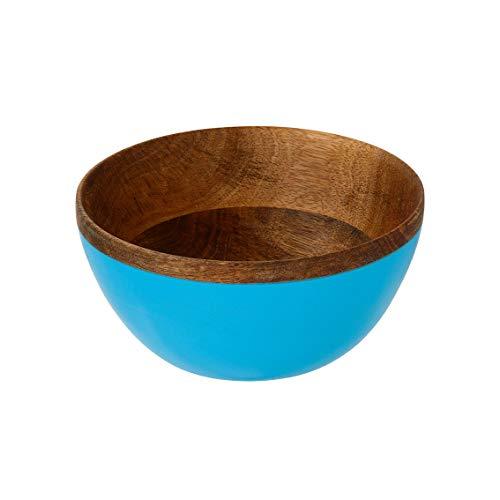Talking tafels natuurlijke mangohout hand beschilderde kom moet hebben voor een zonnig verzamelen - geïnspireerd door India blauw 15cm