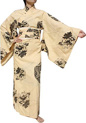 RaanPahMuang Full Kimono Dress Long Japanese Outfit Made in Thai Cottons, Medium, Flowers - Cream