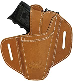 Barsony New Ambidextrous Tan Leather Pancake Holster for Compact 9mm 40 45