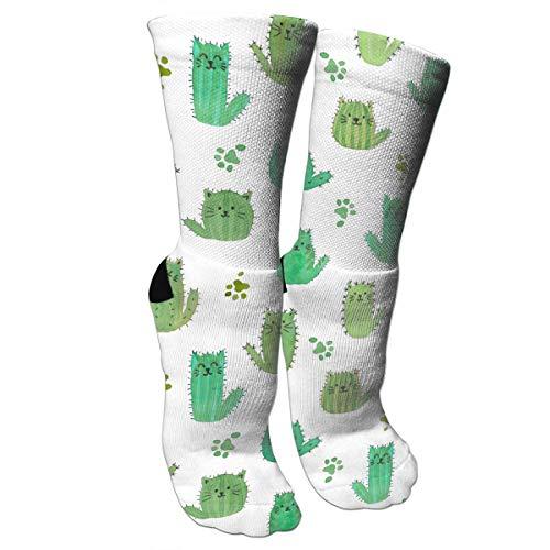 antspuent Cat-cus! Kaktus Katzen und Pfoten Unisex Lange Baumwolle Kompressionssocken mit lustigem Muster für Ski, Softball und Hockey Athletic