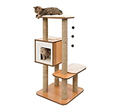 Elegant yet practical line of cat furniture that satisfies the daily activity needs of fussy felines Cat tower has a cube with multiple exits for your cat to relax (or play) in Soft memory foam cat bed cushions Has cat scratching posts for your kitty...