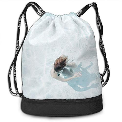 Mochila transparente con cordón para piscina, mochila portátil, ocio, deporte, gimnasio, viajes, 15 x 16 pulgadas