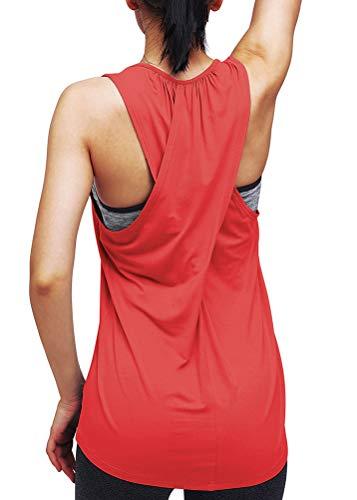 Mippo Workout-Tops für Damen, Yoga, Sport-Shirts, Lauf-Tank-Tops, Fitnesskleidung - Rot - X-Groß