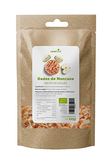 Dados de Manzana deshidratada ecológica 125gr Carefood | 100% natural BIO sin azúcar | Snack natural y saludable | Packaging Compostable 100% sin plásticos