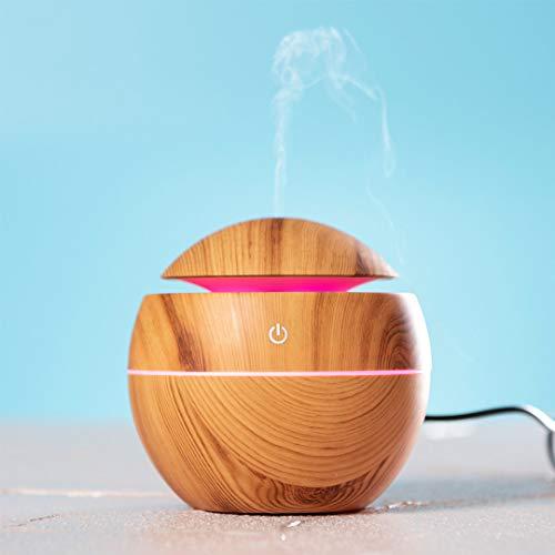 Humidificador Difusor Aromaterapia. Difusor de Aromas. Luz LED. Iluminación Multicolor. 130 ml Depósito