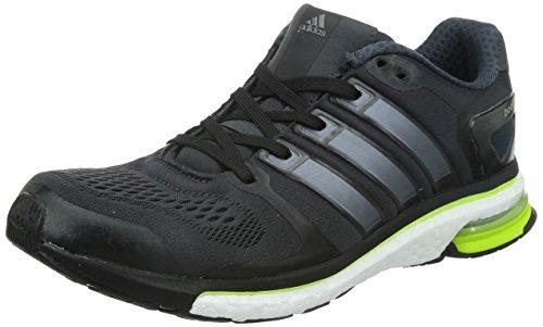 Adidas Men's Adistar Boost M ESM Dark Grey, Black and Yellow Mesh Running Shoes - 10 UK