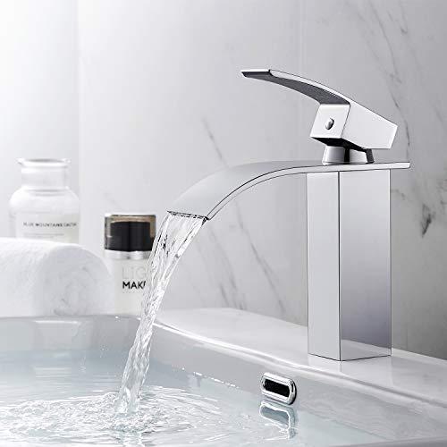 BONADE Elegante Rubinetto Bagno Cascata Miscelatore Monocomando per Lavabo e bagno, per Acqua Calda e Fredda, Cromata