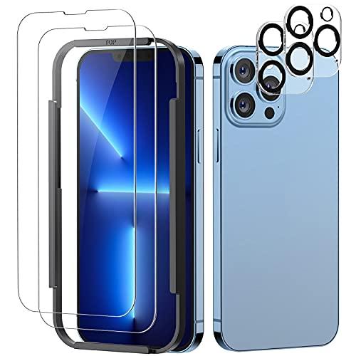 FITA Protector de Pantalla Compatible con iPhone 13 Pro con Protector de Lente de Cámara, [2+2 Piezas] 9H Cristal Templado Pantalla y Protector de Camara Compatible con iPhone 13 Pro (2021 Release)