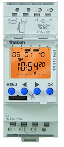 Lumenite TR-610-TOP-2-120V Theben AC 7 Day/24 Hours Din Mounting 1 Channel Digital Time Switch, 56 Memory Locations