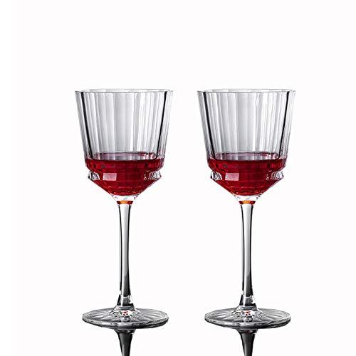 2-Delige Rode Wijnglazen, Lead-Free Crystal Fashion Witte Wijn Glazen Champagne Glas, 250Ml Goblet- Om Wijn Te Proeven, Huwelijk, Verjaardag, Soirees, Party, Bar, Gift
