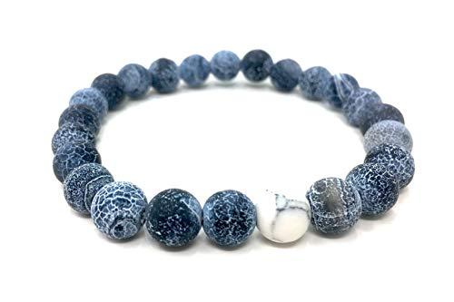 bagusto Pulseras para parejas, 2 unidades de piedras naturales con perlas de 8 mm en azul y blanco, pulseras de la amistad para hombres, mujeres y niños