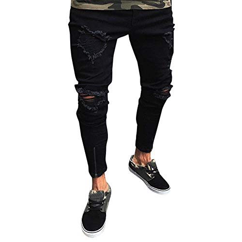 Xiangdanful Herren Jeanshose, Herren Strech Destroyed Slim Fit Denim Jeans Hose,Männer Freizeithosen Streetwear,Skinny Tapered Herrenhose,Jungen Zerrissen Denim Clubwear (M, A-Schwarz)