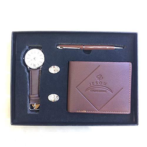 YIBOKANG 4pcs Negocio De Hombres Casual Big Dial Impermeable Cuarzo Conjunto De Manos De Moda Billetera Botas Botas Reloj De Pulsera Traje De Regalo (Color : Marrón)