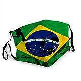NA Gesichtsnasenschal,Brasilien Brasilianische Flagge Internationale Fußball-Fußball-Meisterschaft Gesichtsschal, Maßgeschneiderte Gesichtsschal Für Männer Frauen Erwachsenen Bürogebäude,20X15Cm